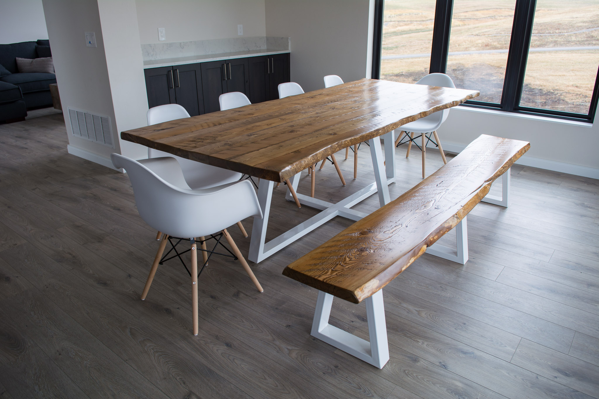 Modern Live Edge Dining Table With Metal Legs