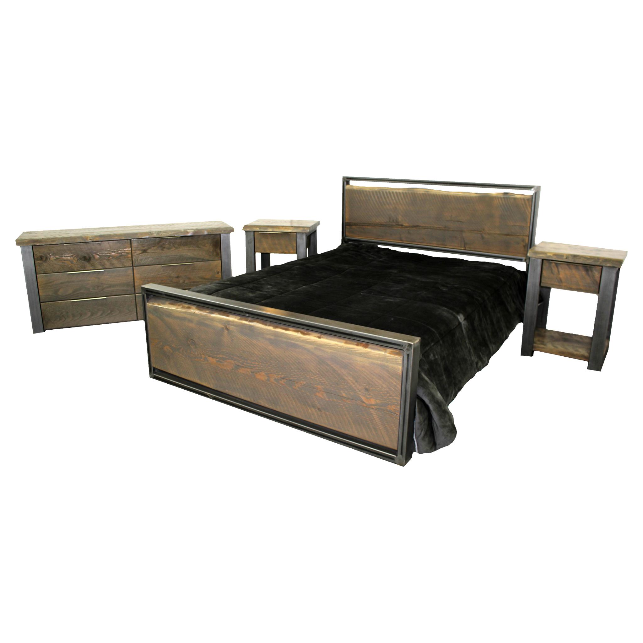 Modern Metal Bed With Live Edge Slab Four Corner Furniture Bozeman Mt