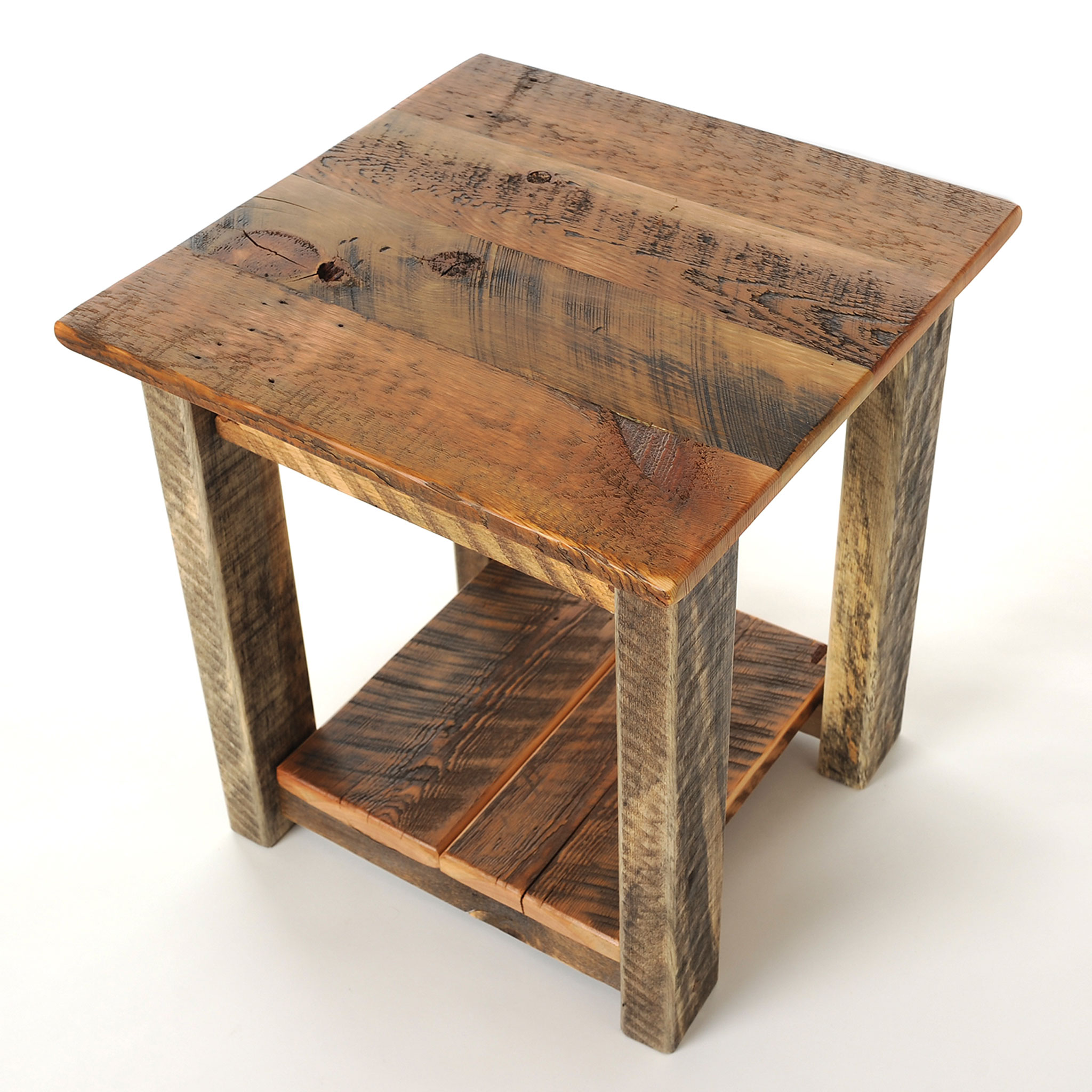 Reclaimed wood end table four corner furniture bozeman mt