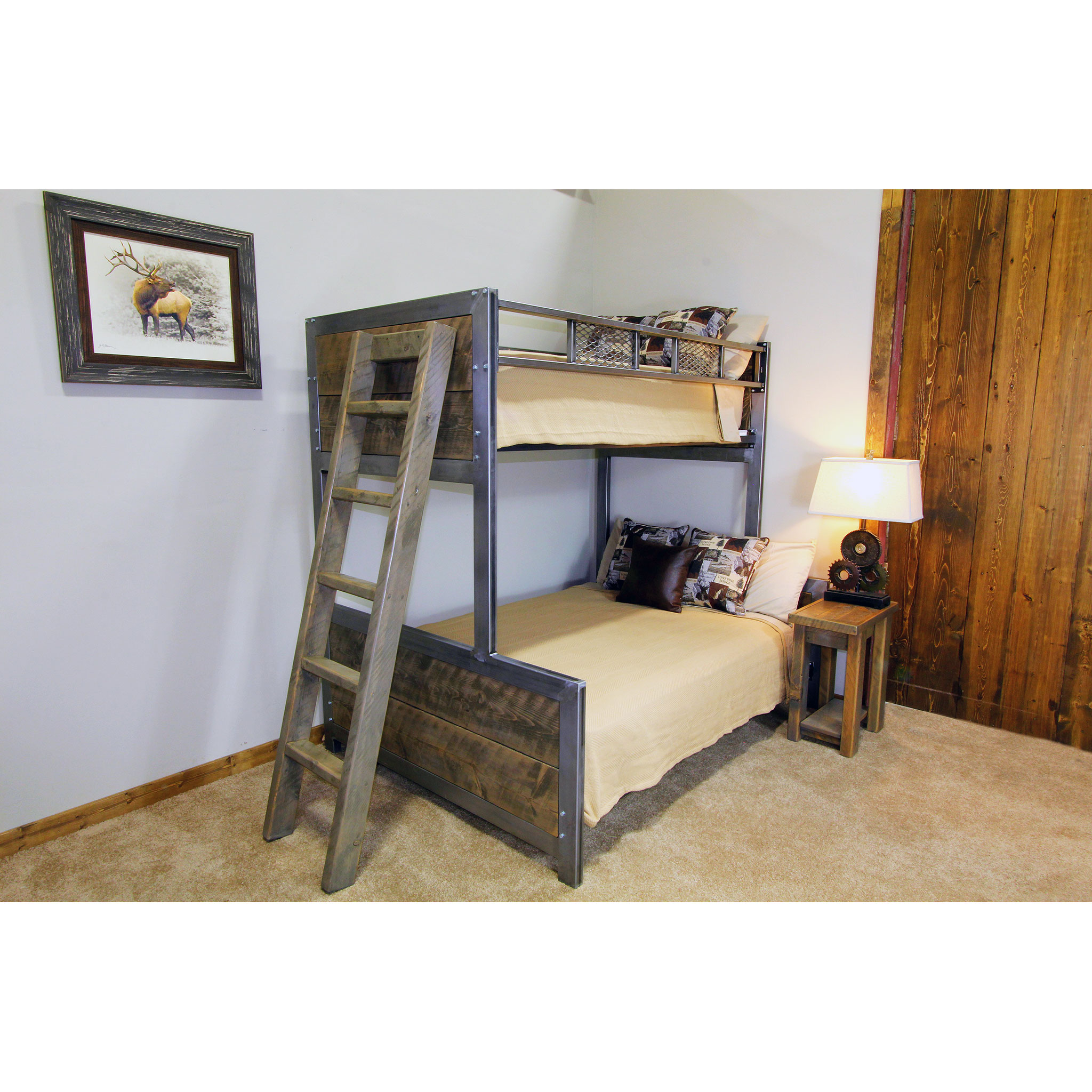 Industrial Metal And Wood Bunk Bed Four Corner Furniture Bozeman Mt