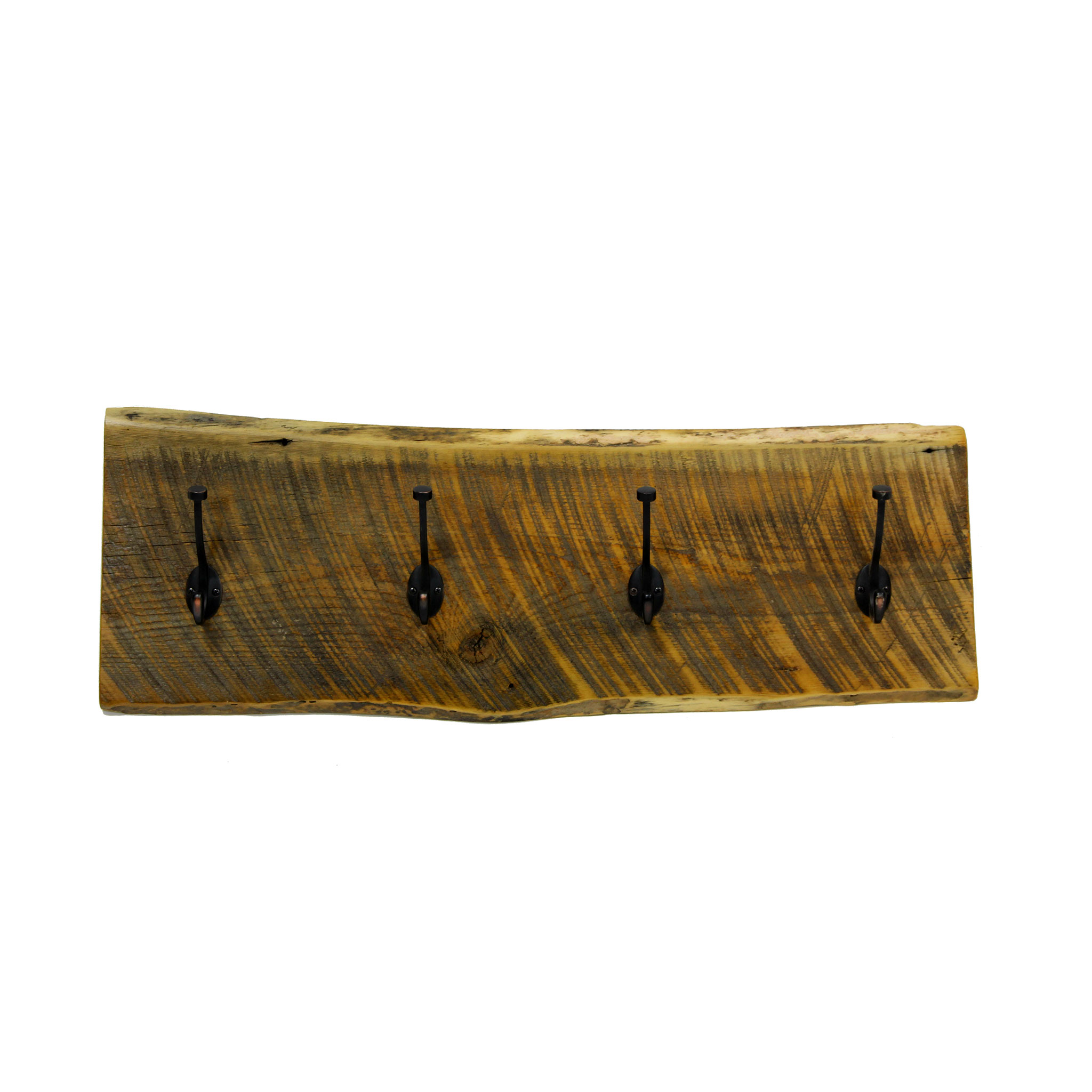 Live Edge Reclaimed Wall Mounted Coat Rack Four Corner
