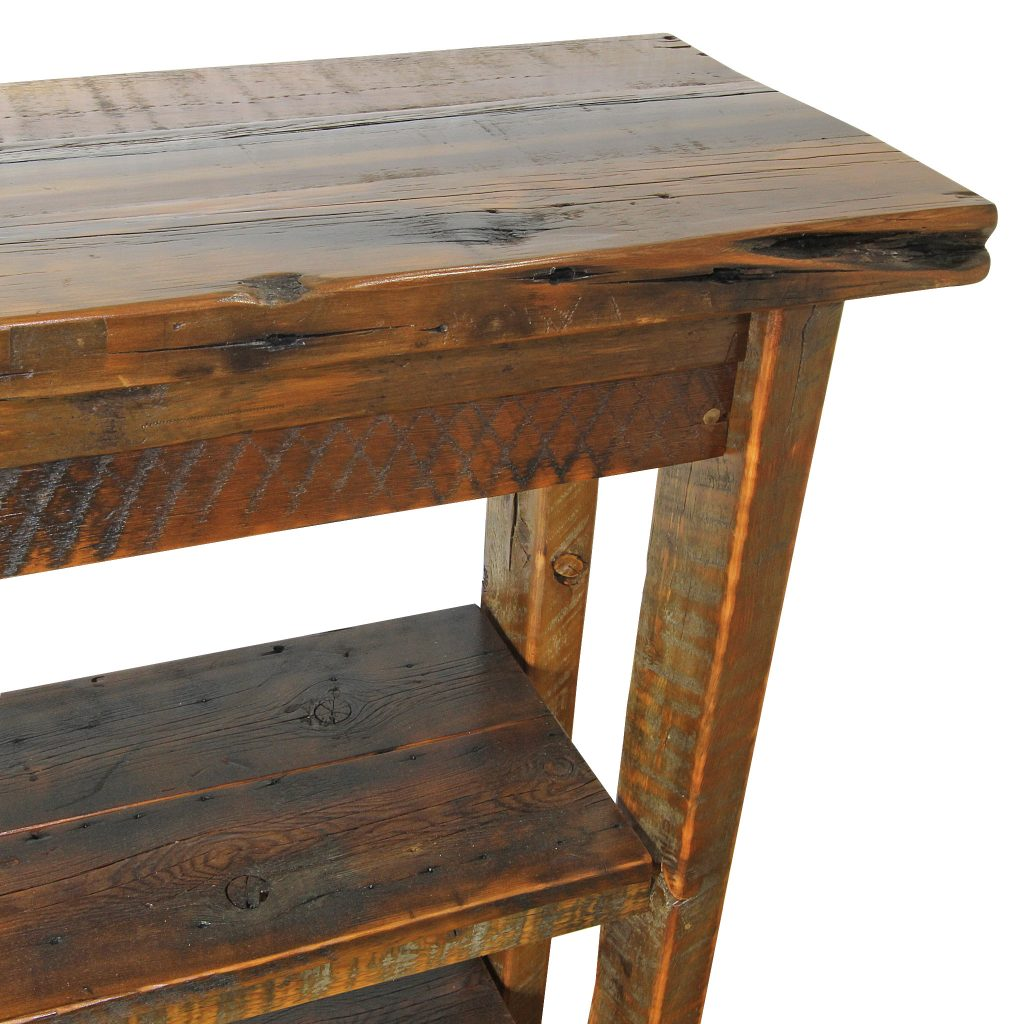Reclaimed-Barnwood-Entry-Table-With-Storage-Shelves-3
