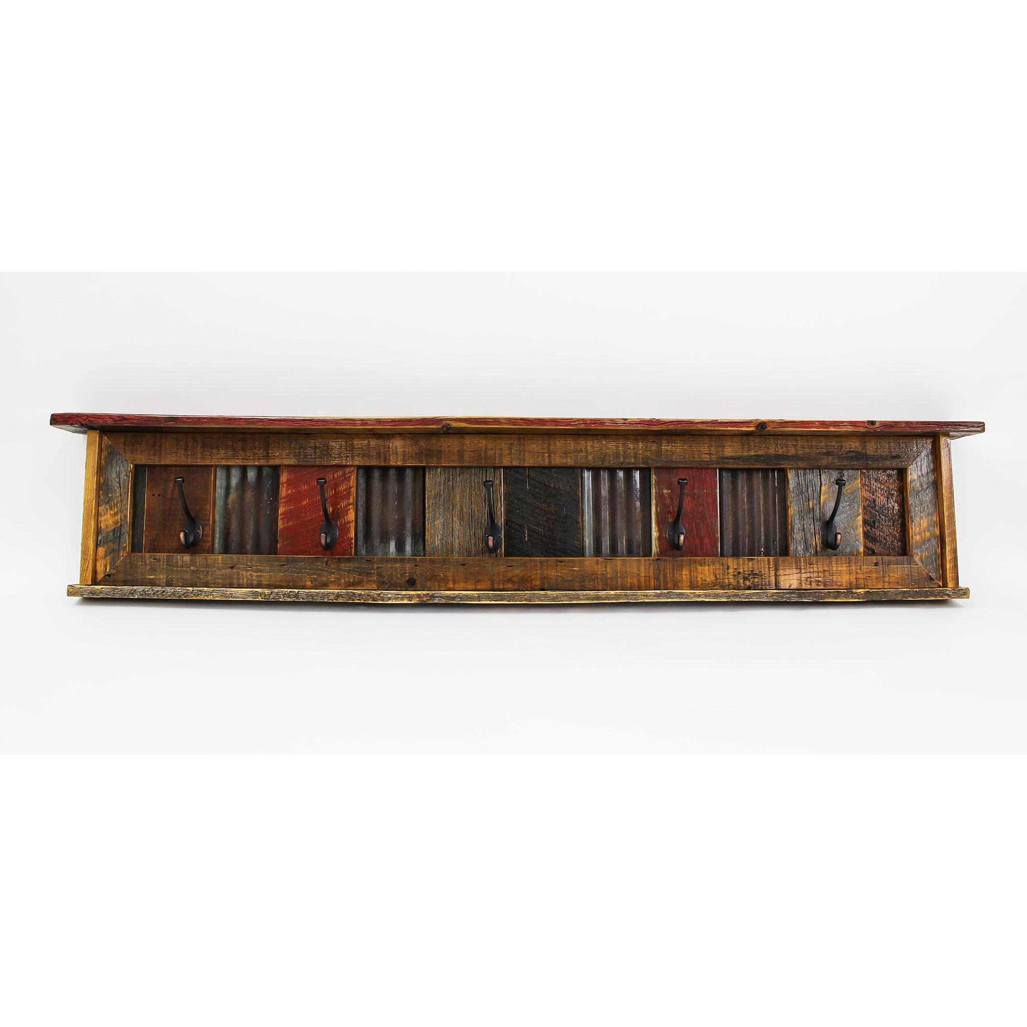 Reclaimed Barnwood Wall Mounted Coat Rack With Shelf Arizona Four