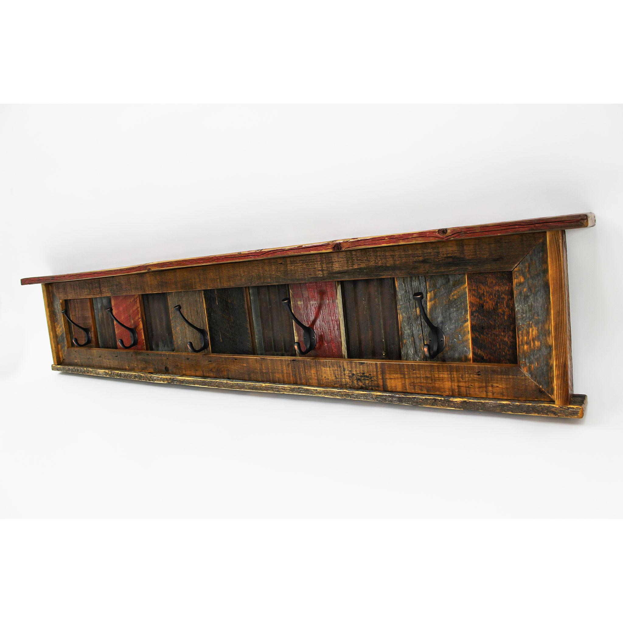 Reclaimed Barnwood Wall Mounted Coat Rack With Shelf