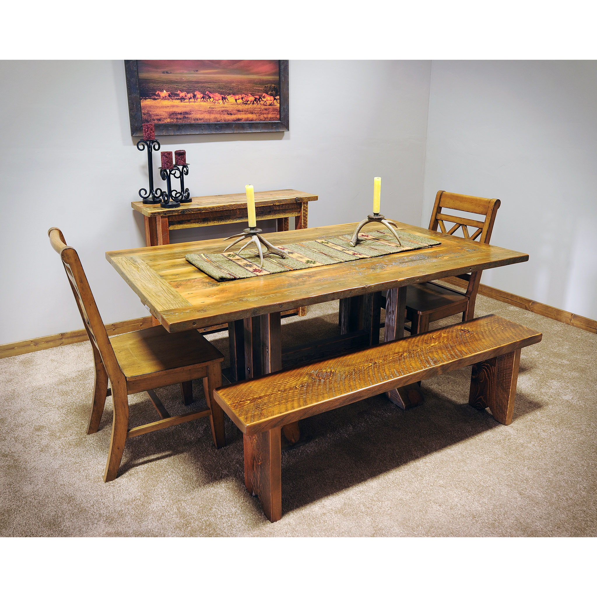 Black Family Diner 3 Piece Corner Dining: Reclaimed Trestle Dining Table With Metal Base