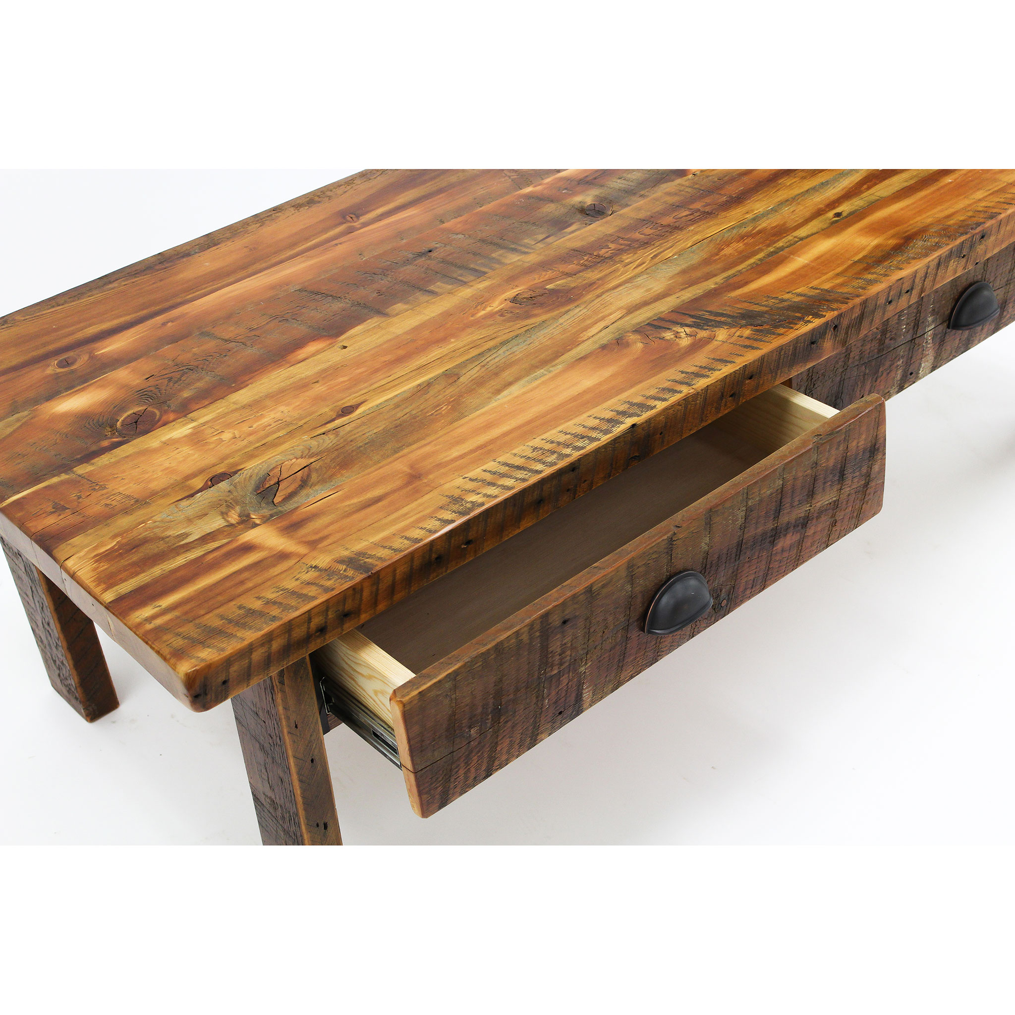 Reclaimed Wood Coffee Table With Drawers 5