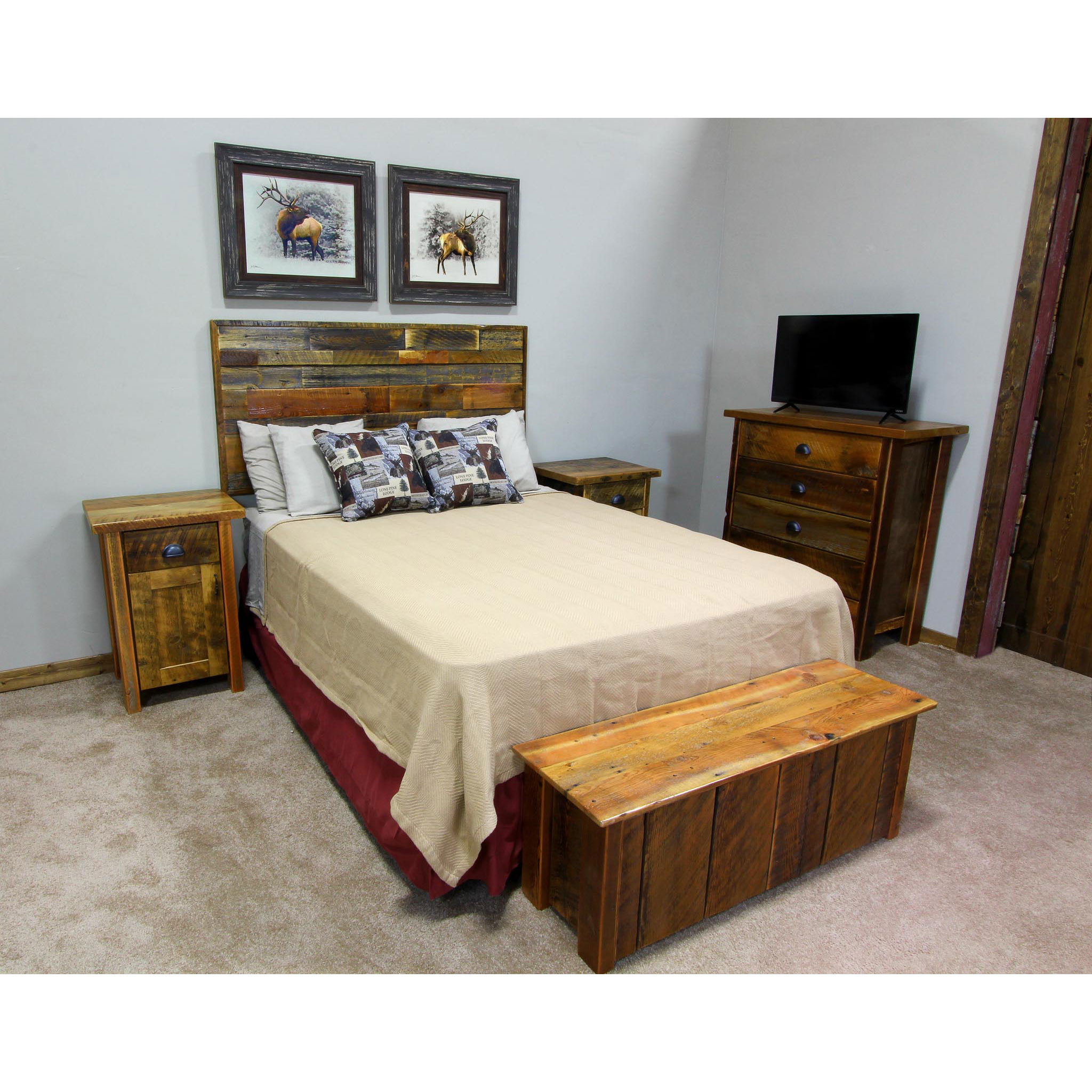 Reclaimed Wood Headboard Horizontal Four Corner Furniture Bozeman Mt