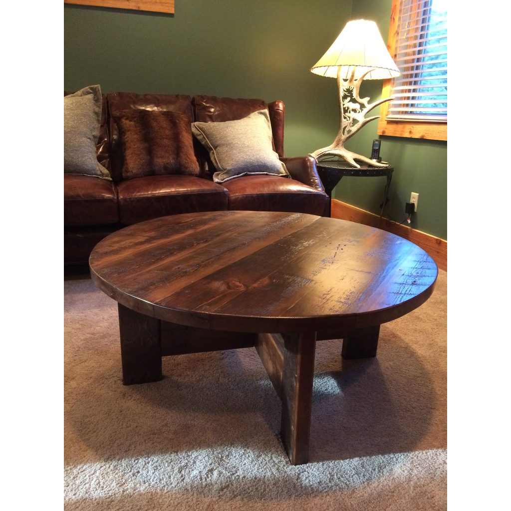 Big Round Reclaimed Wood Coffee Table 2 Sizes: Four Corner Furniture