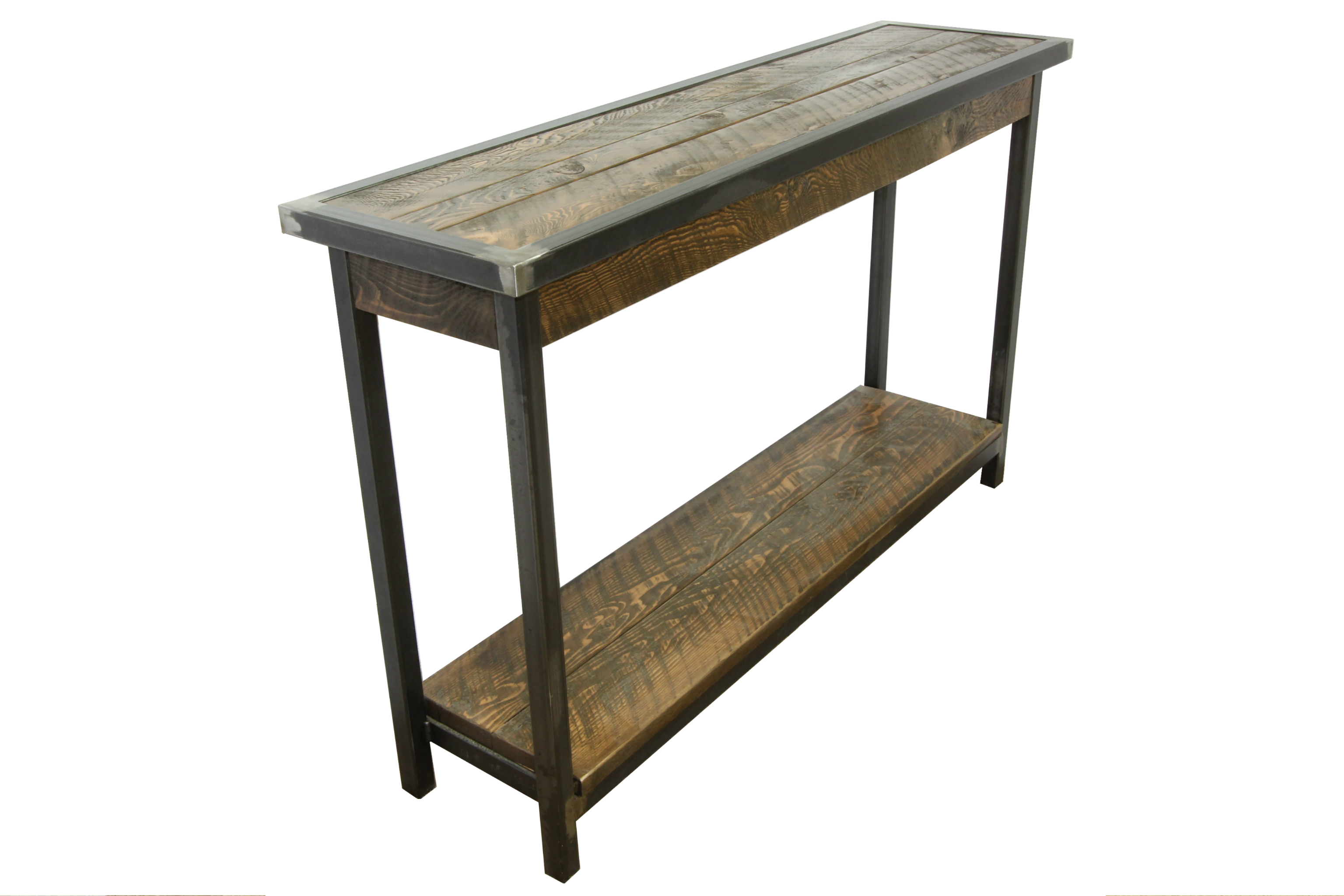 Rustic entryway table with metal base 4