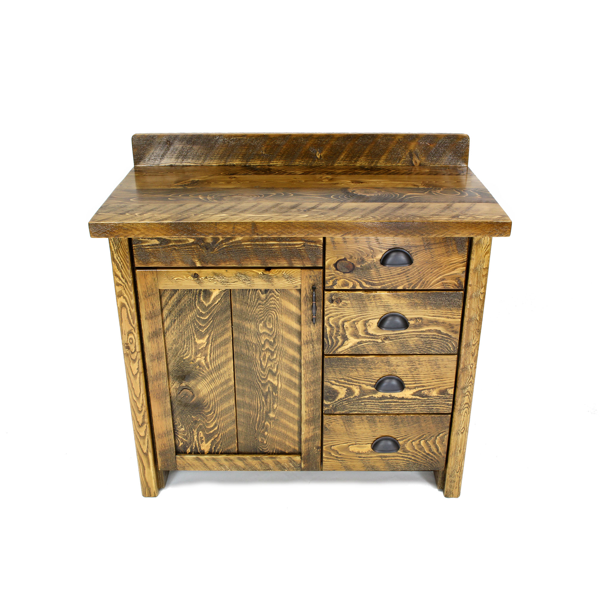 Rustic Wood Bathroom Vanity With Drawers Four Corner