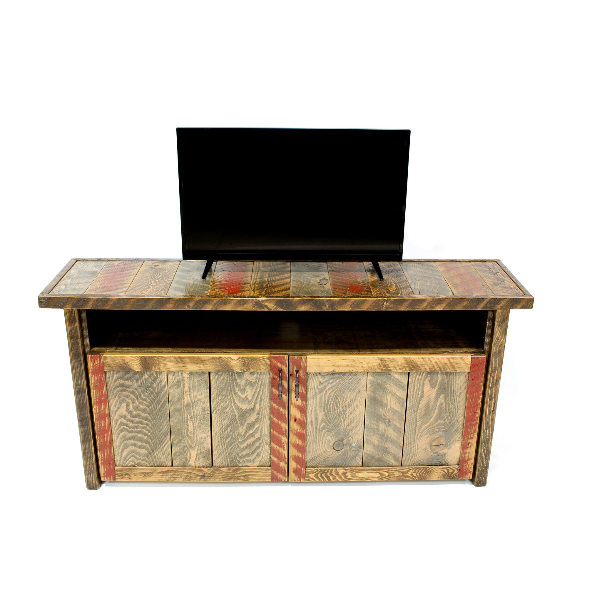Rustic Wood Cabinet TV Console 5