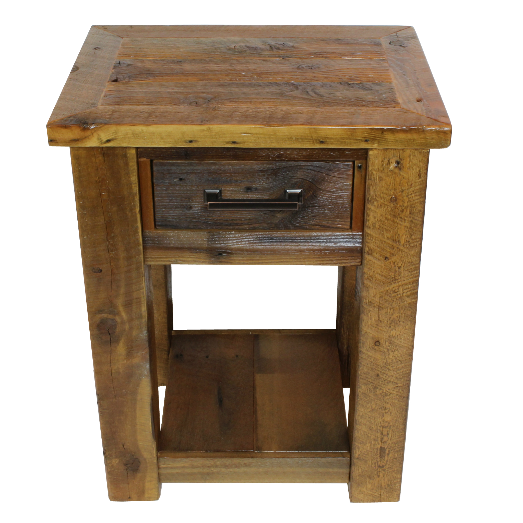Rustic Wood Lodge 1 Drawer Nightstand