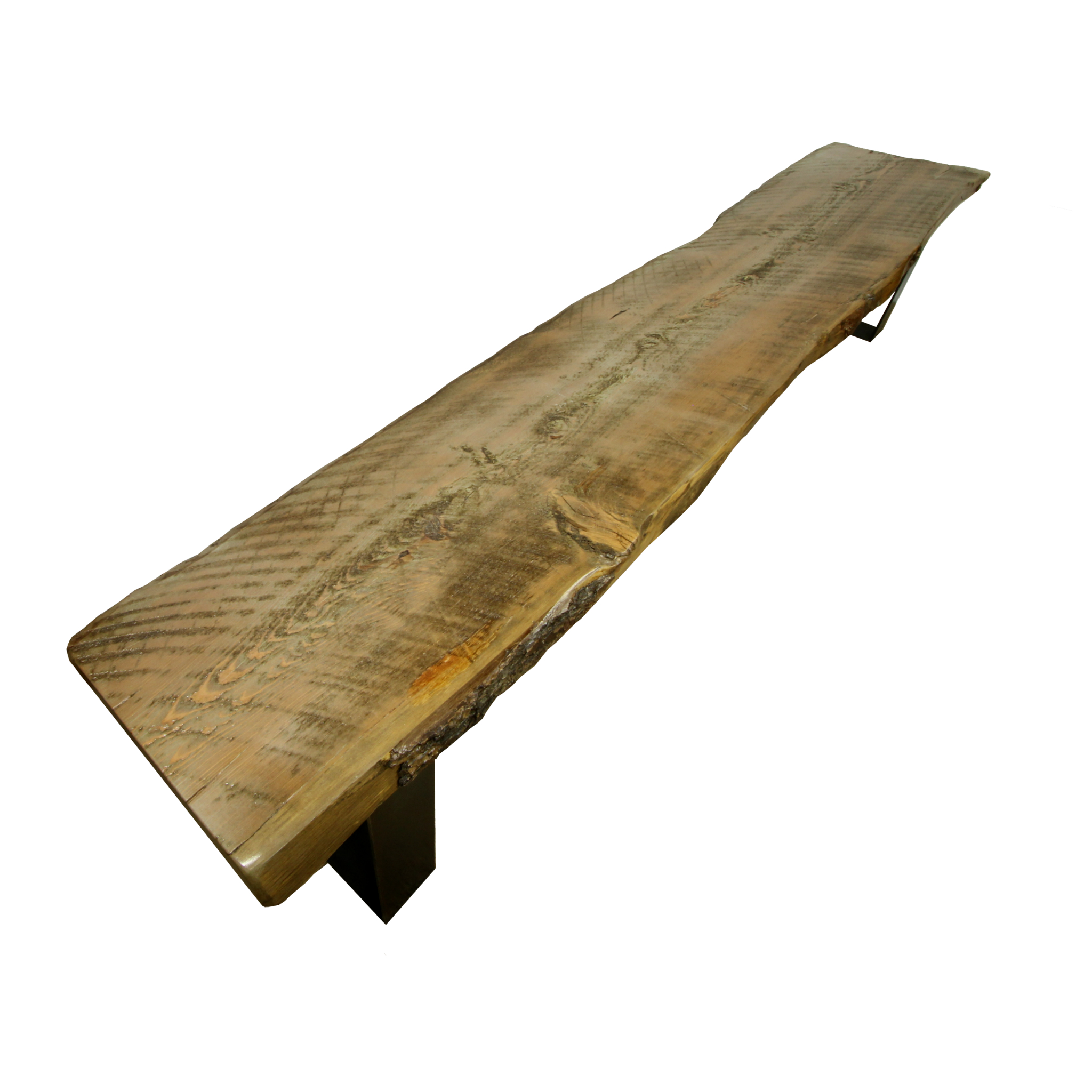Rustic Wood And Metal Bench With Live Edge Slab Four