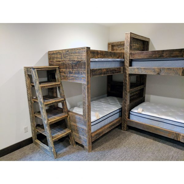 Built-in-bunk-grey-reclaimed-planks-storage-shelves-l-shaped-design-fourcornerfurniture-2