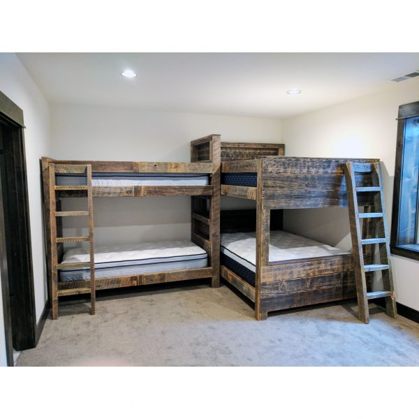 Built-in-bunk-grey-reclaimed-planks-storage-shelves-l-shaped-design-fourcornerfurniture