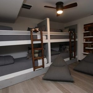 built-in-bunk-with-reclaimed-wood-ladders-usb-ports-led-lighting-wall-mounted-bookshelf-white-grey-color-option-fourcornerfurniture-1