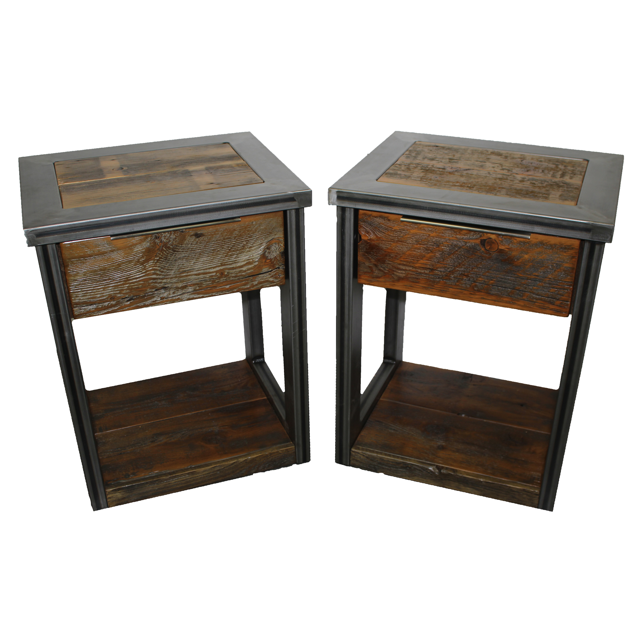 Modern Industrial Nightstand With Reclaimed Wood Four Corner Furniture Bozeman Mt