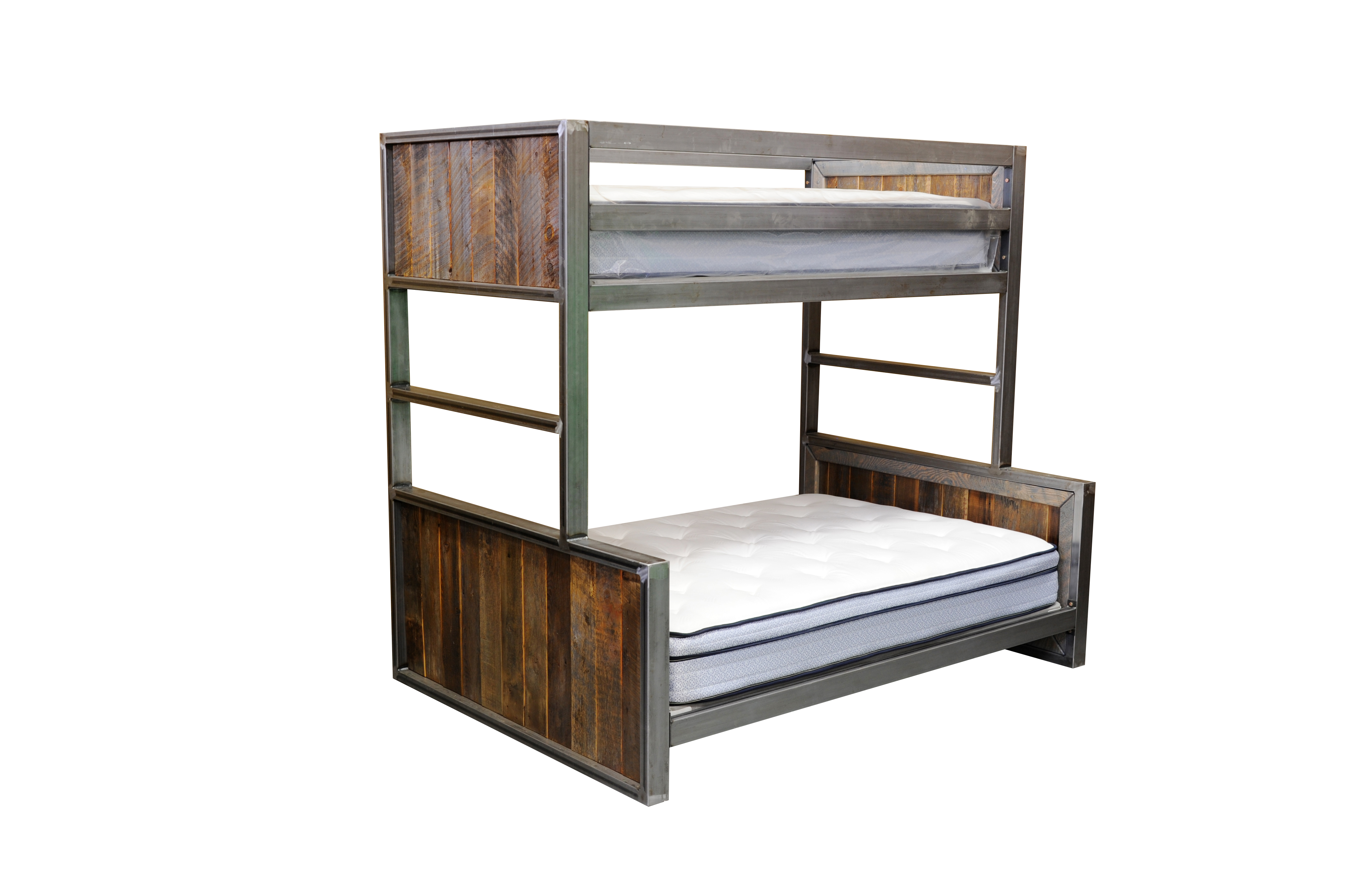Modern Metal And Reclaimed Wood Bunk Bed Four Corner Furniture Bozeman Mt