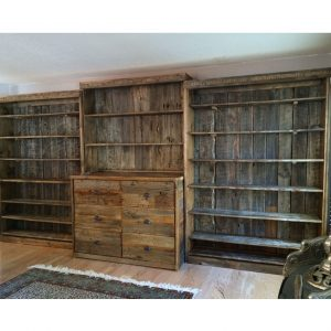CUSTOM.BOOKSHELF.FILE-DRAWER.BARNWOOD.BARK-ACCENTS