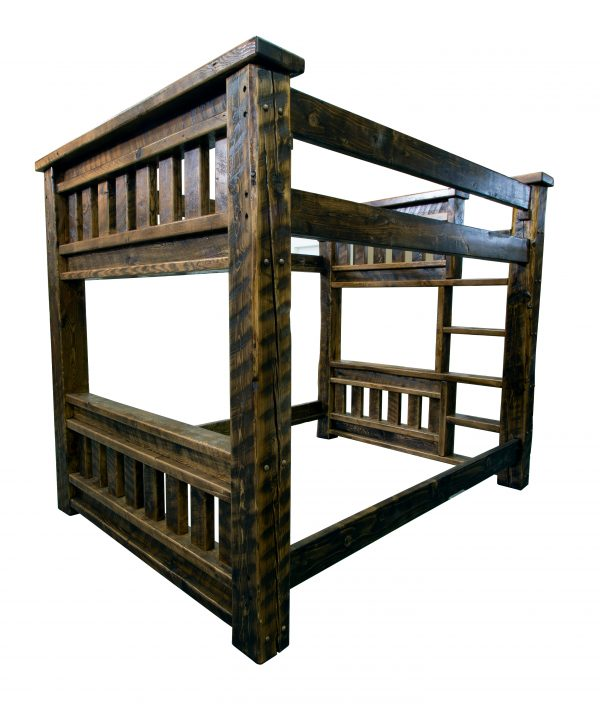 Rustic-wood-mission-bunk-bed-with-built-in-ladder-
