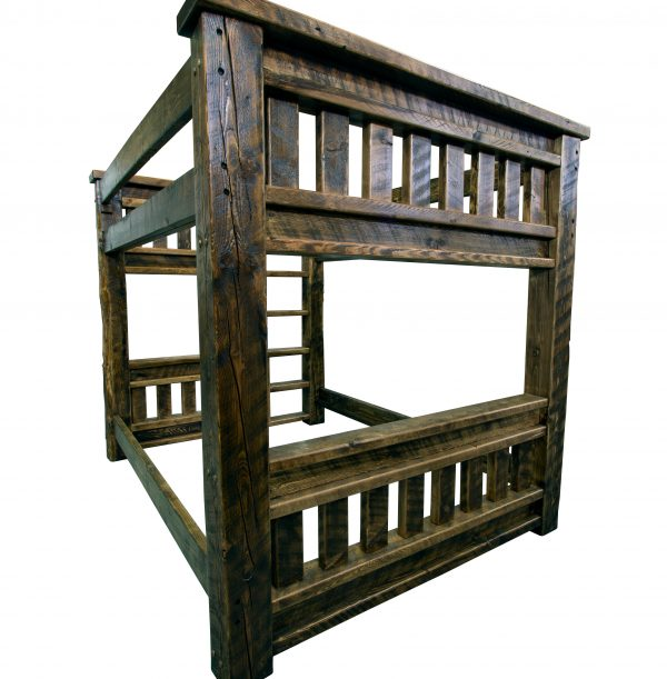 Rustic-wood-mission-bunk-bed-with-built-in-ladder-2