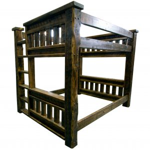 Rustic-wood-mission-bunk-bed-with-built-in-ladder-3